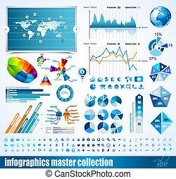 premio, histograms, elements., icone, globo, grafici, grafico, disegno, frecce, lotto, infographics, maestro, collection:, relativo, 3d