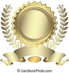 premio, nastro, (vector), argenteo
