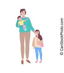 preoccupare, camminare, figlia, insieme, figlio, madre