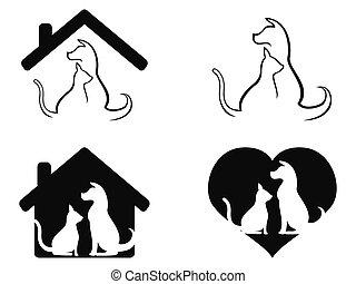 preoccupare, coccolare, simbolo, cane, gatto