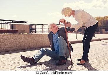 preoccupare, donna, lei, alzarsi, porzione, anziano, marito