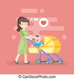 preoccupare, lei, illustrazione, vettore, madre, felice, capretto