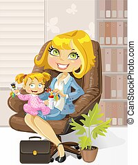 preoccupare, madre, ufficio, affari, bambino