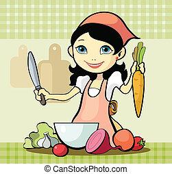 prepara, ragazza, pasto