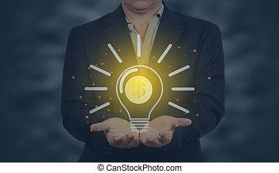 presa a terra, affari, bulb., concept., uomo, luce, idea