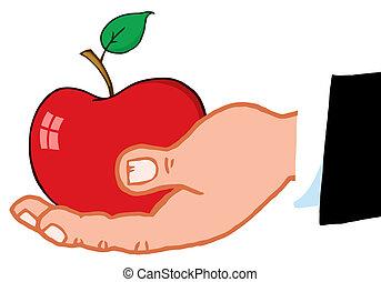 presa a terra, affari, mela, rosso, mano
