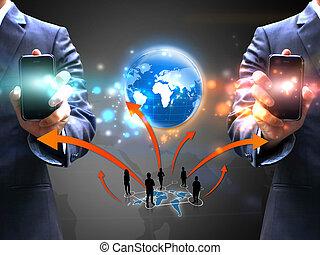 presa a terra, affari persone, rete, sociale