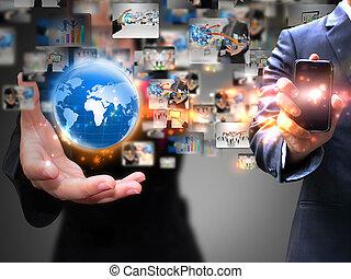 presa a terra, affari persone, sociale, media