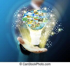 presa a terra, affari, rete, sociale, uomo, bulbo, luce