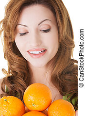 presa a terra, attraente, oranges., donna, casaual