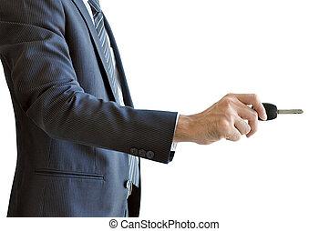 presa a terra, automobile, -, mano, aprire, chiave, azione, uomo affari