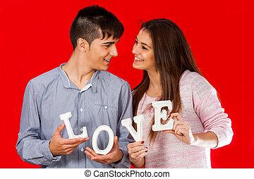 presa a terra, blocco, amore, letters., coppia, giovane