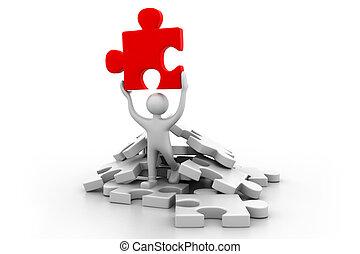 presa a terra, concept), puzzle.(business, successo, uomo