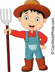 presa a terra, contadino, giovane, cartone animato, rastrello
