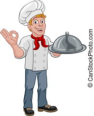 presa a terra, cuoco, cupola, cartone animato, vassoio, uomo, chef