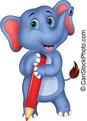 presa a terra, elefante, p, carino, cartone animato, rosso