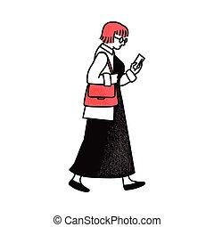 presa a terra, isolato, camminare, smartphone, donna, fondo., bianco, vista laterale