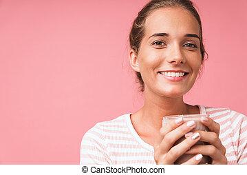 presa a terra, latte cioccolato, sorridente, splendido, immagine, vetro, bello, donna closeup