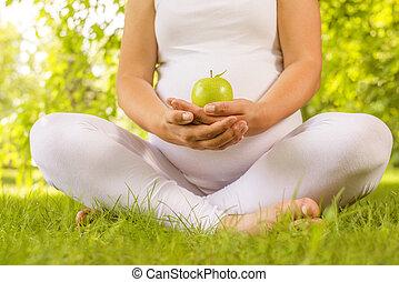 presa a terra, mela, incinta, verde, donna