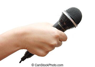 presa a terra, microfono, fondo, mano donna, bianco
