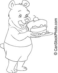 presa a terra, orso, torta, pagina, giovane, coloritura