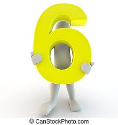 presa a terra, persone, carattere, numero, giallo, sei, umano, piccolo, 3d