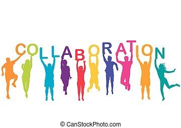 presa a terra, silhouette, collaborazione, uomini, colorito, donne, loro, mani, parola