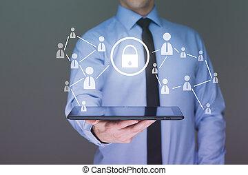 presa a terra, tablet., sicurezza, uomo affari, tocco, cyber, interfaccia, schermo, concetto