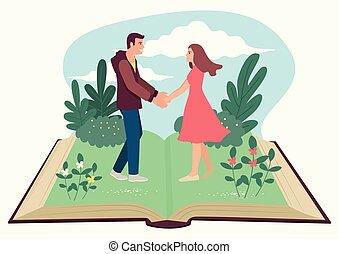 presa a terra, uomo, aperto, donna, libro, mani