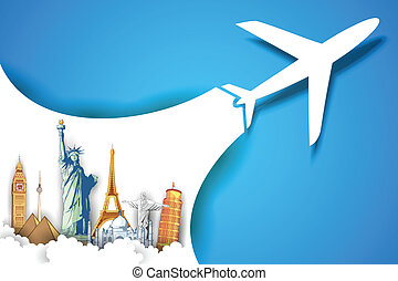 presa, aeroplano, viaggiare, fondo