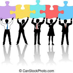 presa, affari persone, puzzle, squadra, soluzione