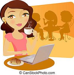 presa, bella ragazza, coffe, giovane