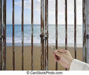 presa, chiuso chiave, cielo, arrugginito, mano, esterno, chiave, porta, oceano, spiaggia, sbloccando