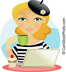 presa, donna, caffè