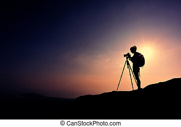 presa, donna, fotografo, foto