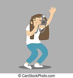 presa, fabbricazione, su., immagine, vettore, fotografo, mano, cartone animato, photo., presa a terra, donna