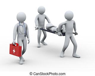 presa, persone, paziente, 3d, dottore