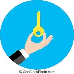presa, vettore, chiave, mano