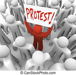 prese, segno, protesta, movimento, dimostrazione, cambiamento, uomo