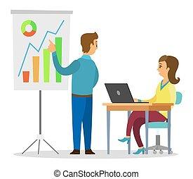 presentare, grafico, tavola, dall'aspetto, laptop, uomo, asse, grafici, seduta, analisi, donna