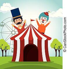 presentatore, pagliaccio circo, tenda