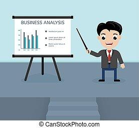 presentazione, affari, analisi