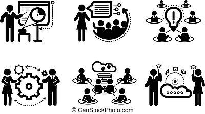 presentazione, concetto, lavoro squadra, icone affari