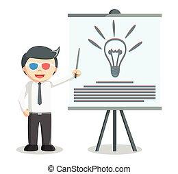 presentazione, idea, uomo affari