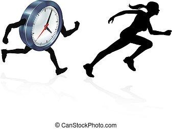 pressione, tempo, inseguito, orologio