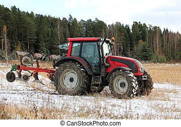 presto, campo, trattore, inverno, rosso