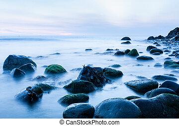 presto, irlandese, mattina, mare, pietre