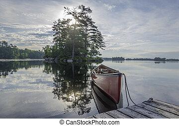 presto, pietroso, mattina, lago