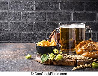pretzel, cibo, bavarese, birra