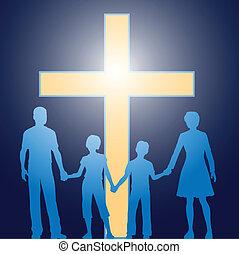 prima, cristiano, famiglia, standing, luminoso, croce